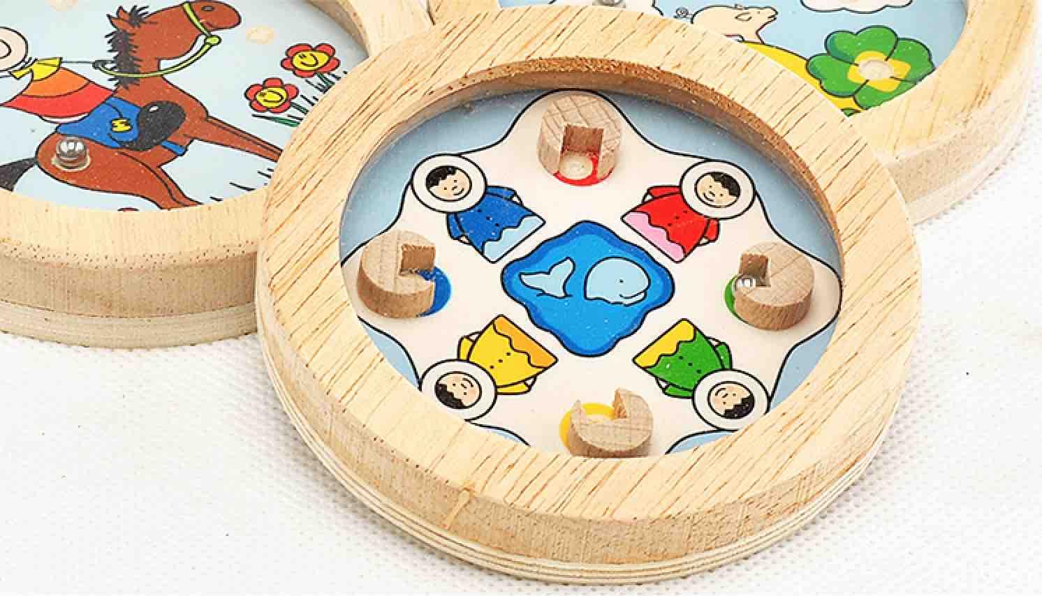 德国传统木玩品牌-掌上圆形卡通 走珠游戏 儿童益智小玩具