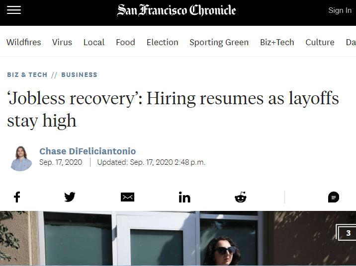 《旧金山纪事报》称,尽管美国招聘活动回暖,但裁员人数居高不下