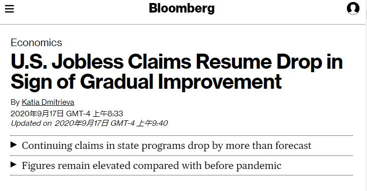 彭博社称,美国就业市场有逐步改善的迹象,但与疫情前相比,失业数据仍然偏高